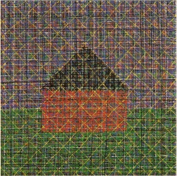 Jennifer Bartlett, House Dark Plaid, 1988, Oil on canvas, 50 x 50 in.